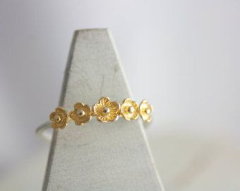 Sakura anillo anillo flor oro color de rosa joyas de por TedandMag