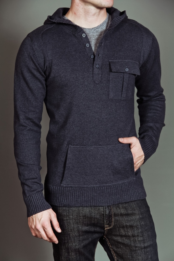 Civil Society Ringo: Men's L/S Hooded Sweater Heather Navy