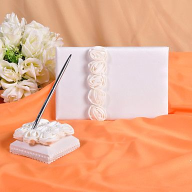 Wedding Guest Book and Pen Set With  Decorative White Silk Roses – USD $ 16.49