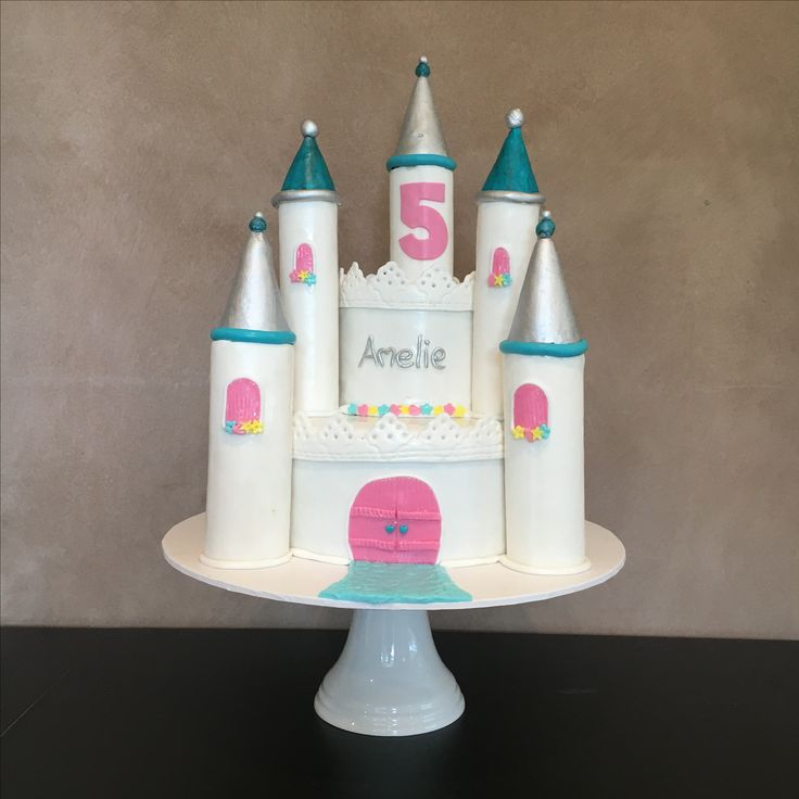 Princess castle cake in Silver, teal and pink. Gorgeous colours to celebrate a little princess' birthday.