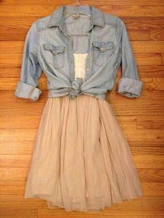 tulle skirt and denim shirt
