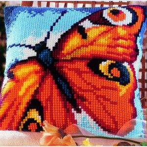 Peacock Butterfly - Cross-stitch cushion
