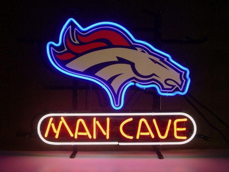 NEW NFL DENVER BRONCOS MAN CAVE REAL GLASS NEON LIGHT BEER SIGN FREE 2-3 SHIP