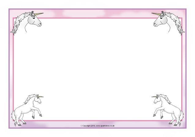 Unicorn Themed A4 Page Borders Sb11633 Sparklebox