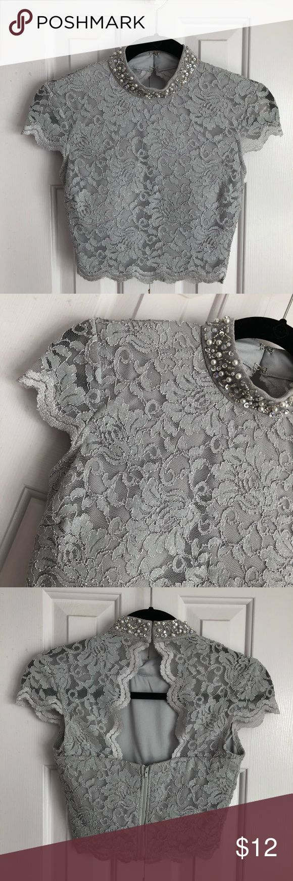 Gray Sliver Lace Dress Top Gray-silver glitter dress top with pearl and diamond embellishments! Detailed with laced back design and pearl neck decor! Also padded! Designed by City Studio for Macy's! BRAND NEW!! Macy's Dresses Prom