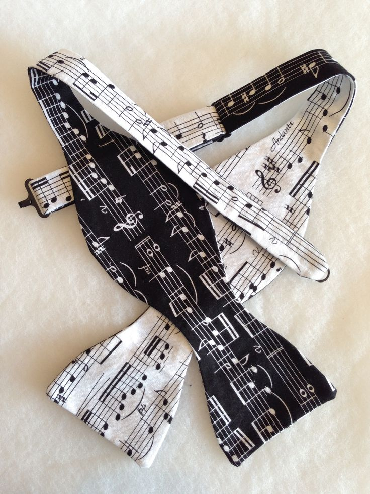B&W Music notes Double sided cotton Bow Tie (Self-Tie)