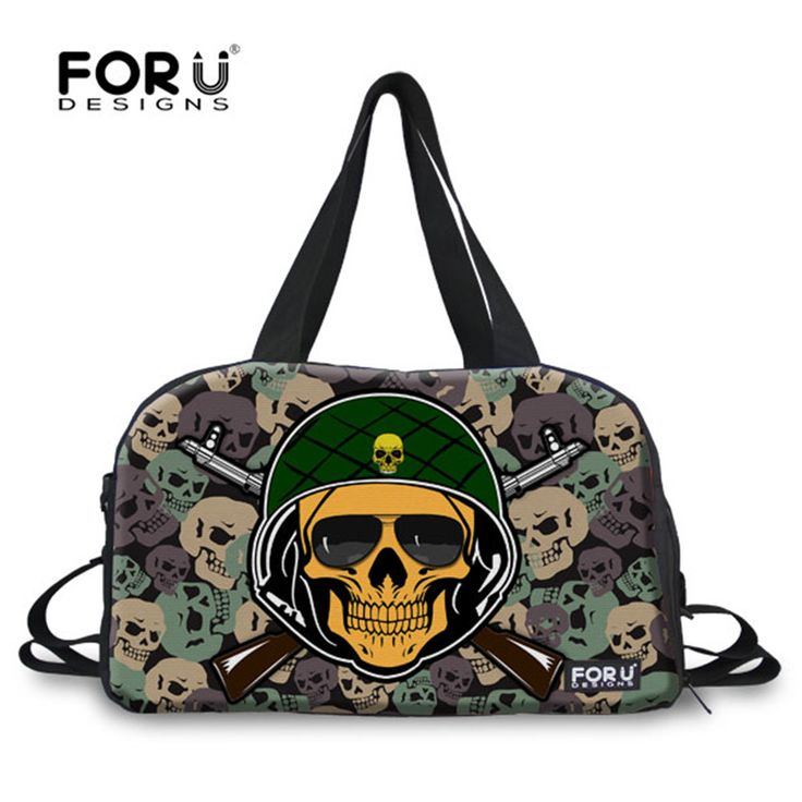 FORUDESIGNS Camouflage Skull Punk Sport Travel Tote Bags Outdoor Gym Bags for Men and Women Waterproof  Handbag Duffel Bags