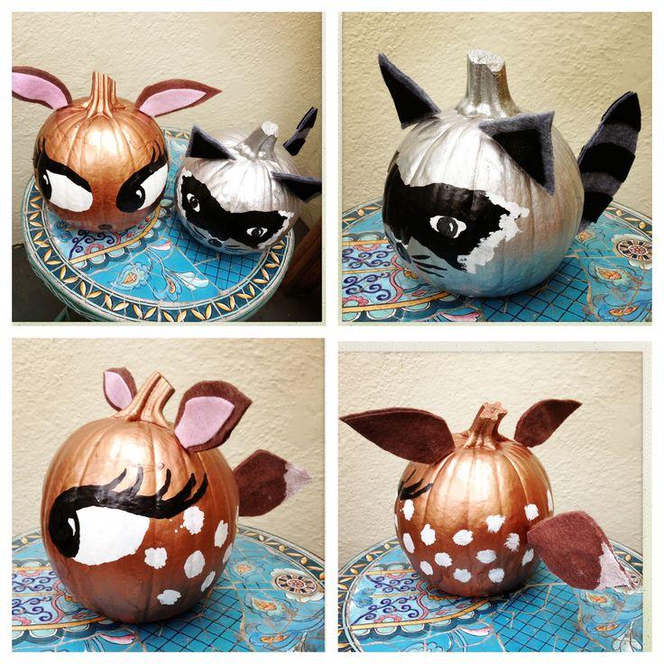 Raccoon and Deer pumpkins made with spray paint, gloss