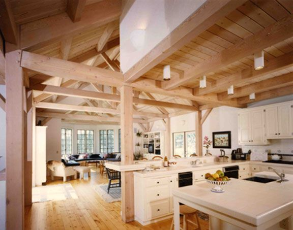 Small Timber Frame Home Interior Lompoc Valley Pacfic Post Beam T