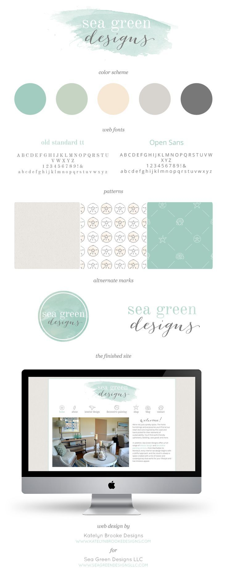 Sea Green Designs branding and WordPress website || Katelyn Brooke Designs