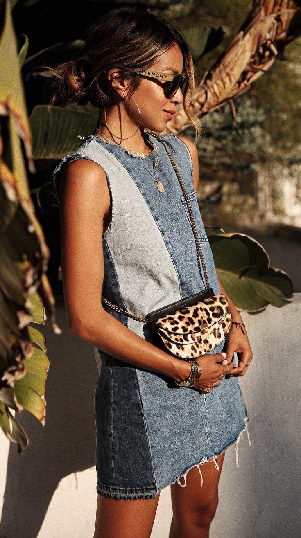 Trendy Outfit Denim Dress And Leopard Crossbody Bag Casual Summer Dresses Fashion Denim Fashion [ 1315 x 735 Pixel ]