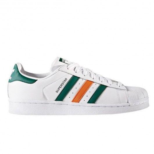 ADIDAS Originals Superstar chaussures blanches (bandes vertes et oranges) 99,00 € #skate #skateboard #skateboarding #streetshop #skateshop @playskateshop