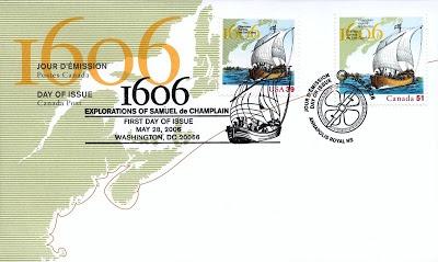 Champlain's Survey East. 1606-2006. Stamp.