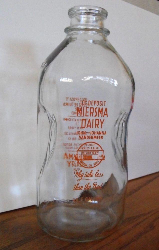 Vintage Miersma Dairy Half Gallon Milk Bottle Jug Artesia
