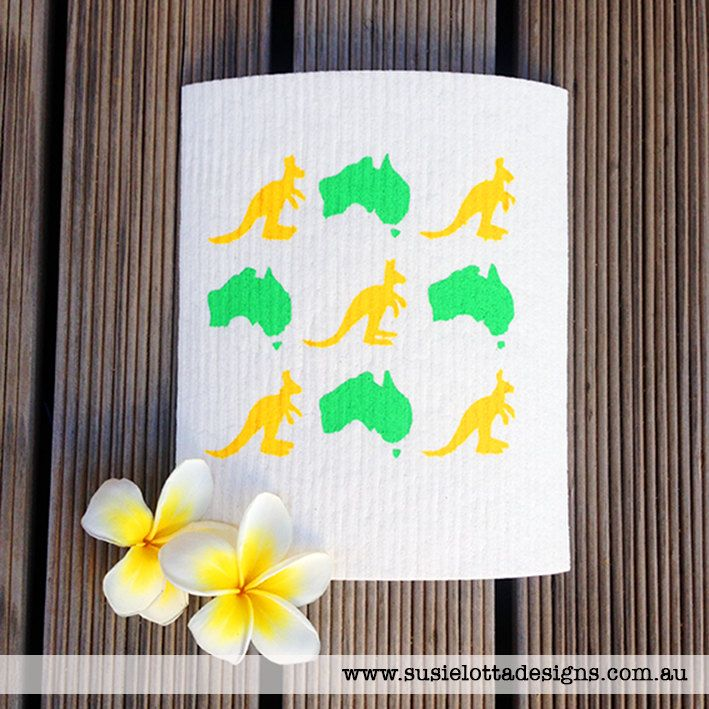 Australia & Kangaroo - Aussie style  hand screen printed Dish cloth - Dishcloth by susielottadesigns on Etsy - Susie-Lotta Designs