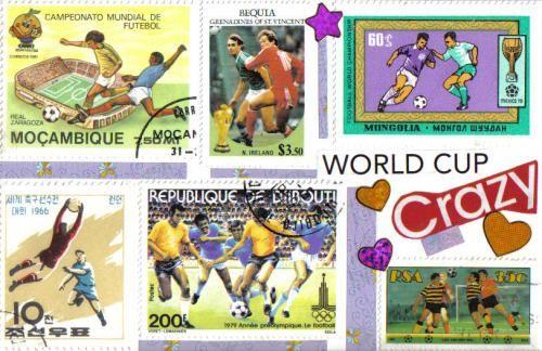 More lovely soccer stamps on a handmade postcard
