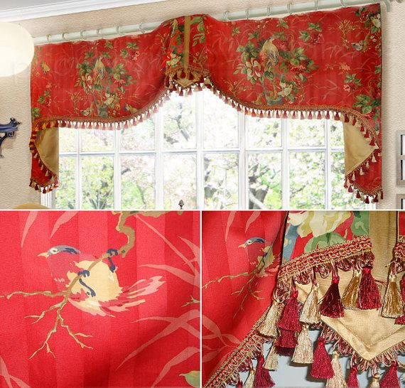 """Custom Valance Extra Wide Richloom Bird Toile Stripe Red Trim Long Jabots Flat Swags Trumpet Mounted on Drapery Rings 92"""" to 95"""" Wide"""