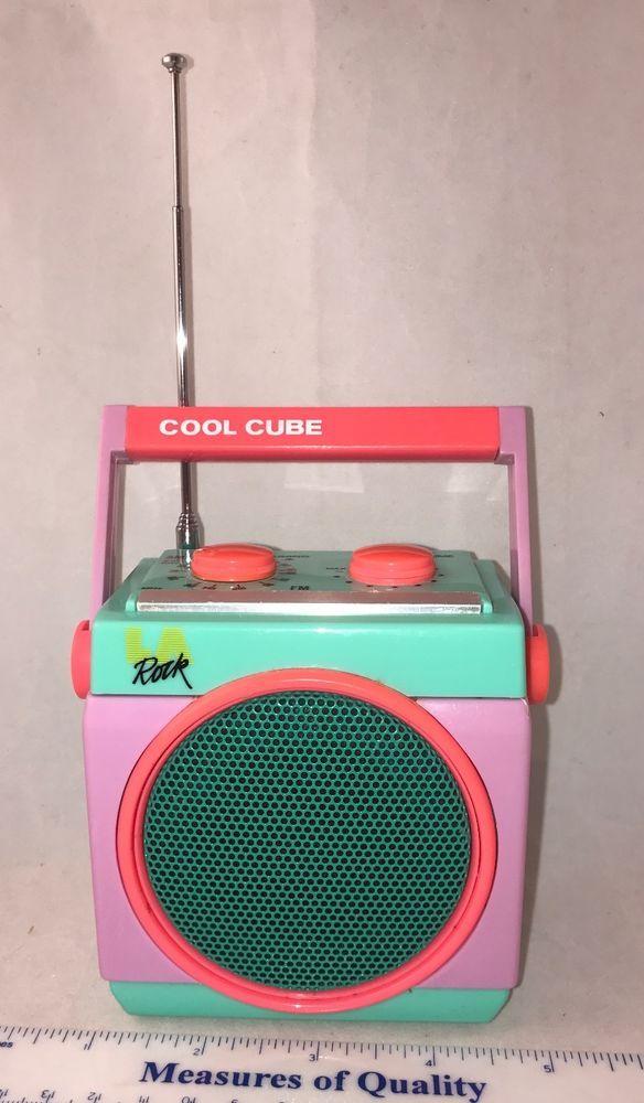 vintage LA Rock Radio fm am Cool Cube Square 1980 neon pink blue Works Great!  $25.99 fs  #LARock