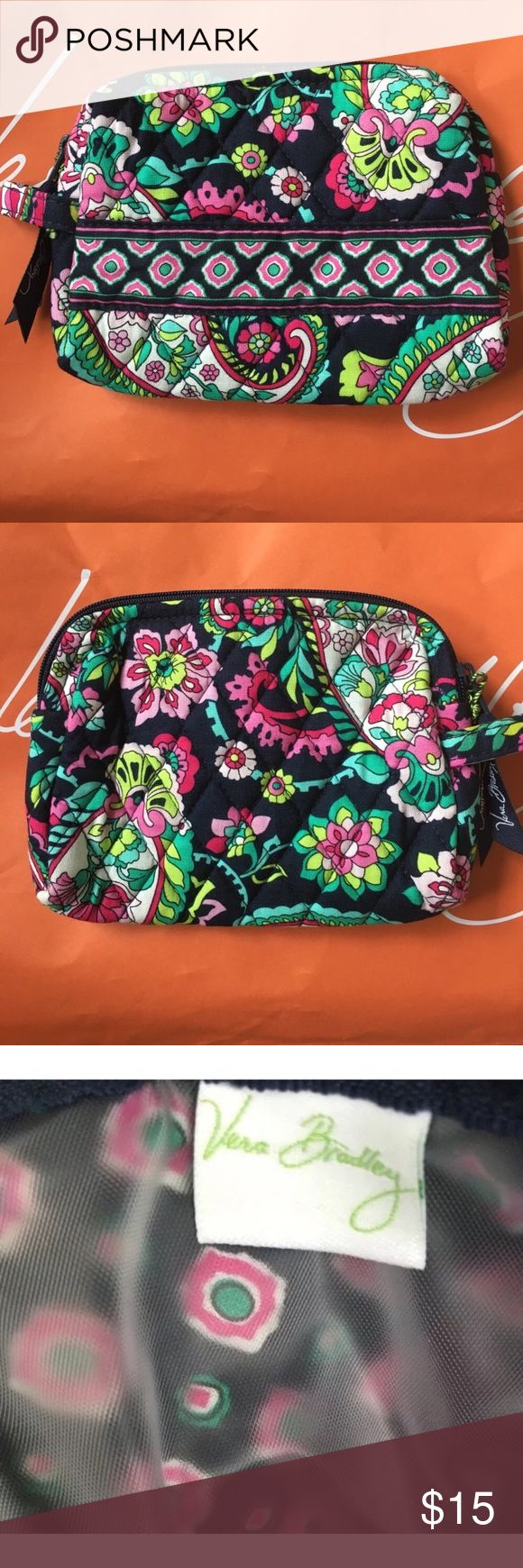 """SMALL Cosmetic Bag 🌷 Petal Paisley Storage clear out 🦄 Never used. PERFECT brand new with tags. No fading, rips, or funky smells. Smoke free home. Kept in a pet free area of my home 🦄 Plastic lined 💕 Bundle to SAVE 💕 SIZE - • Small: 6.5"""" h, 7"""" w, 1"""" d (pattern placement may vary from photos) Vera Bradley Bags Cosmetic Bags & Cases"""