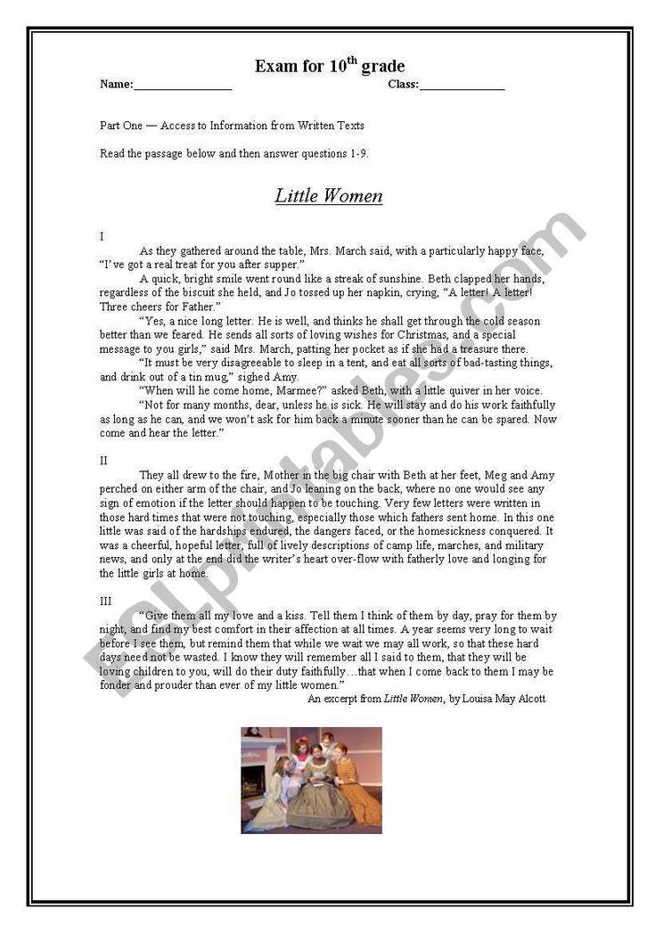 Little Women - Reading Comprehension - ESL worksheet by ...