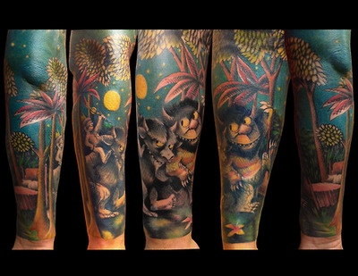 """Where the Wild Things Are"" sleeve. By Luke LoPorto, Timmy Tattoo, Huntington, NY. www.Loportoart.comTattoo Sleeve, Wild Things, Tattoo Inspiration, Childhood Book, Body Art, Literary Tattoo, Kids Book, Amazing Tattoo, Children Book"
