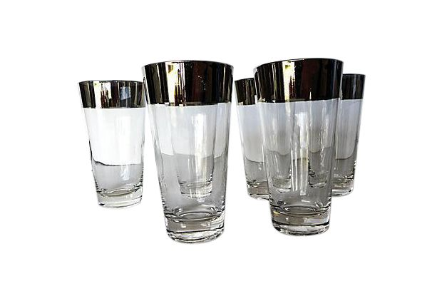 Mid-Century Modern Bar Glasses -Set of 6  on Chairish.com
