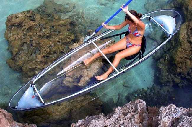Explore the ocean in a see through kayak in St. Thomas, U.S. Virgin Islands.http://www.adventurecenters.net/adventures/kayak-trips/clear-kayak Also offers clear kayak night light up tours.