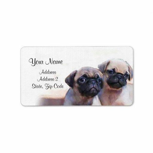Pug Puppies Address Labels