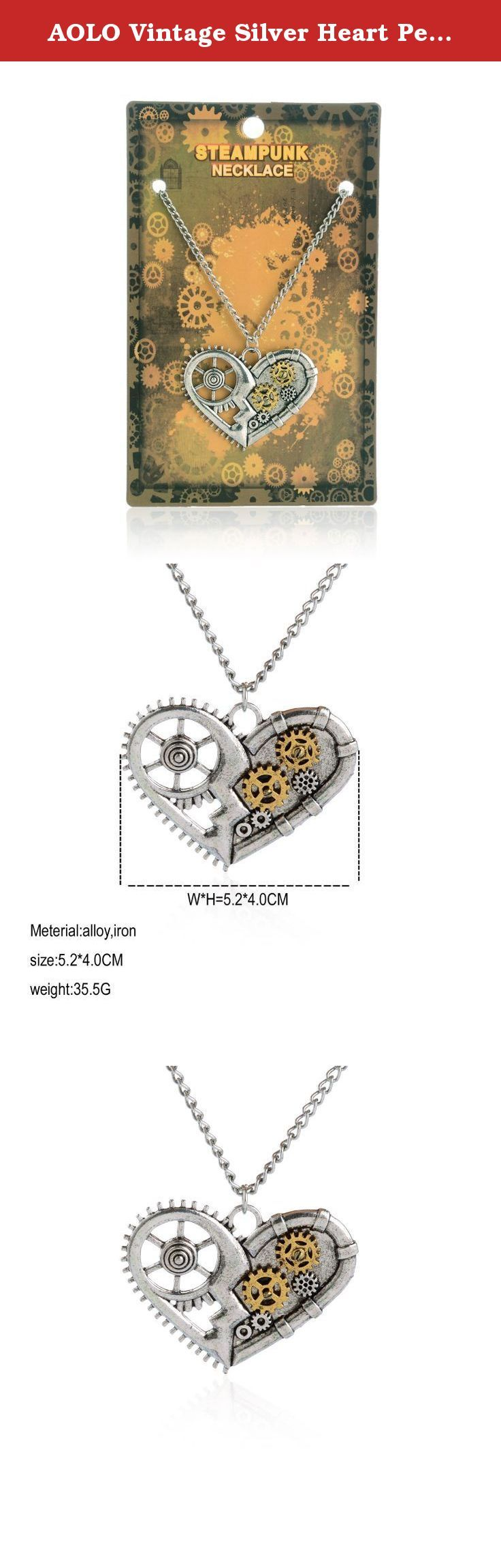 """AOLO Vintage Silver Heart Pendant Necklace Gear Charm Steampunk Necklaces. Originally, steampunk is a subgenre of fantasy and speculative fiction which came into prominence in 1980s and early 1990s. It could be described by the slogan """"What the past would like if in the future happened sooner."""" It includes fiction with science fiction, fantasy or horror themes. Nowadays, steampunk is more than a genre of fiction, it extends to fashion, engineering, music and for some, a lifestyle. Among..."""