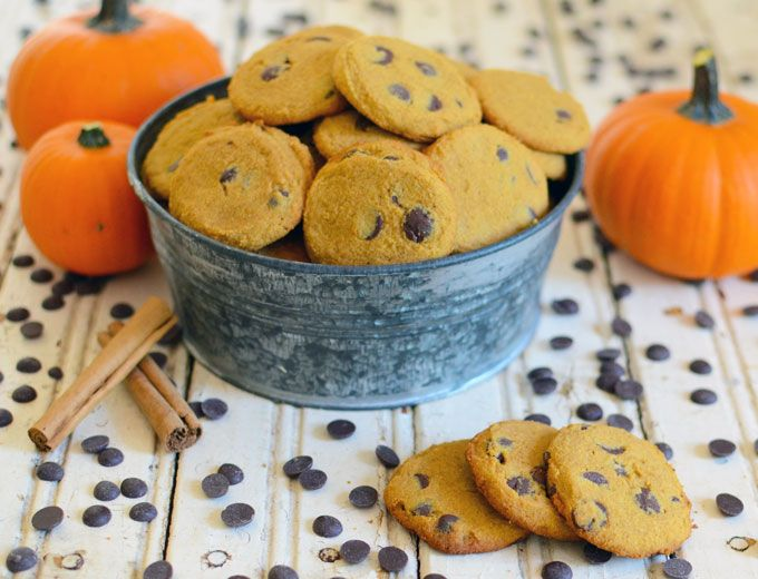 Crispy Paleo Pumpkin Chocolate Chip Cookies made with coconut flour. Egg-free, nut-free, grain-free and easy to make!