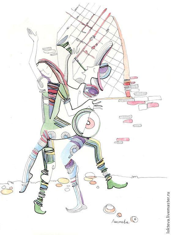 Купить Графика Венецианские музыканты - разноцветный, венеция, графика, акварель, барабан, карнавал, сюжет