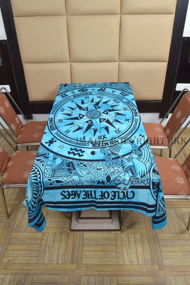 Indian Table Cover Sky Blue Compass Cycle of Ages Printed Cotton Dinning IWUS