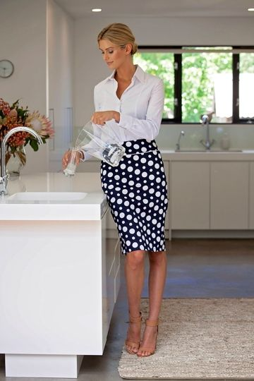 The Navy and White Spot Print Pencil Skirt can be dressed up with a blazer and shirt, or kept casual with a tee - birdsnest online