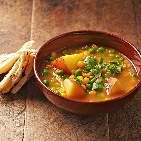 Freshly grated ginger, garlic, cinnamon, and curry combine for a classically spiced Indian stew that's high in flavor but low in sodium and calories. Packed with yellow split peas, the vegetarian soup also has a whopping 23 grams of protein.