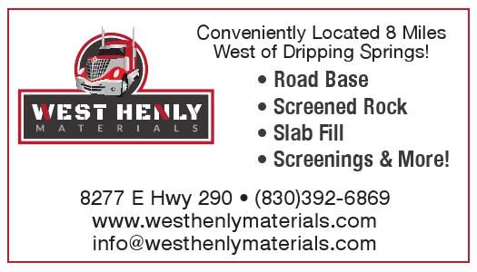 Conveniently Located 8 Miles West of Dripping Springs! • Road Base  • Screened Rock West Henly Materials - Johnson City, TX #texas #SanMarcosTX #shoplocal #localTX