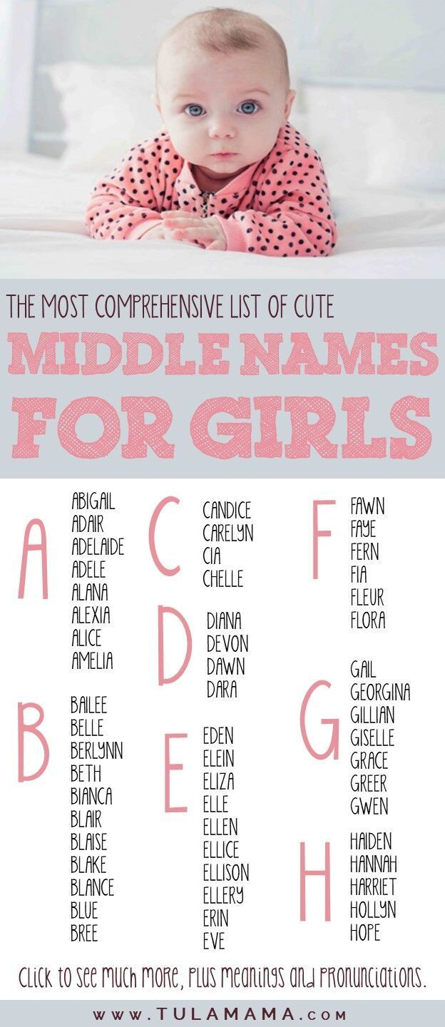A Comprehensive List Of Cute Middle Names For Girls  Baby girl