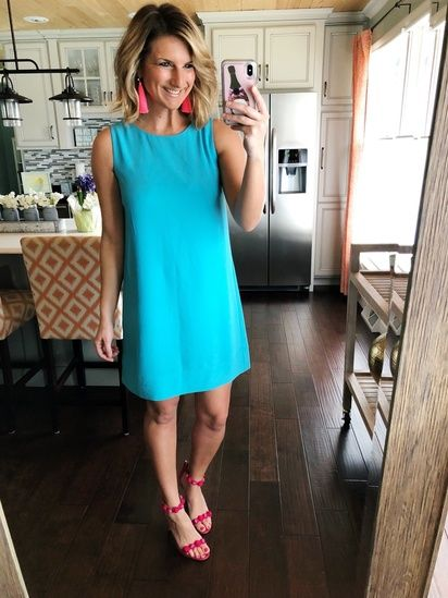 cd93f4bb06b04 Perfect Summer Dress // Easter Dress // Wedding Guest Dress // Perfect  Spring Dress // Shift Dress + Strappy Sandals + Statement Earrings // How  to Add a ...