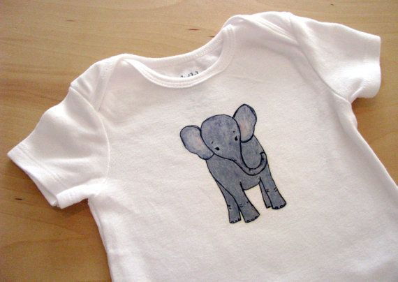 Cute Baby Gray Elephant One Piece Bodysuit by PurpleSnapdragons, $16.00