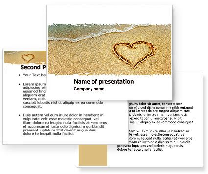 Learn to write your hurts in sand; learn to carve your blessings in stone.    Download Heart On Sand powerpoint template (ppt) and power point background for Heart On Sand presentation. Nice PowerPoint template will be great choice for presentations on attraction, love, falling in love, sympathy, sweethearts, love confession, love letters, etc. http://www.poweredtemplate.com/04969/0/index.html