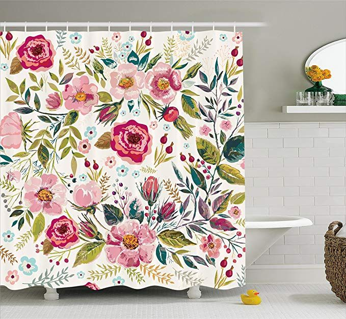 Paisley Shower Curtain Asian Flowers Leaves Print for Bathroom 70 Inches Long