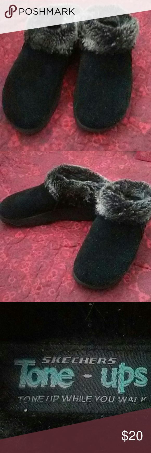 Slippers Black fur-lined slippers Skechers Shoes Slippers