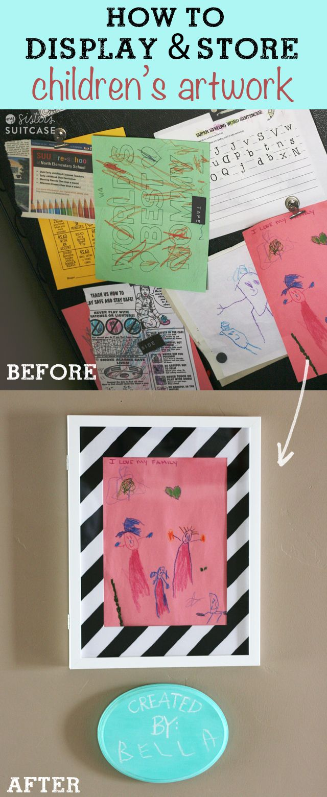 Drowning in your kids' artwork? Here's a simple solution to make your child really feel special! #kids #organization www.sisterssuitcaseblog.com