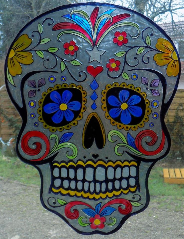 WICOART STICKER WINDOW COLOR CLING FAUX STAINED GLASS CARNAVAL SUGAR SKULL MASK