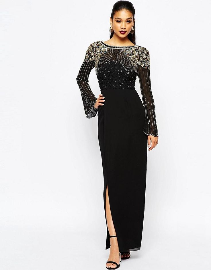 Virgos Lounge | Virgos Lounge Long Sleeve Embellished Maxi Dress With Wrap Skirt at ASOS