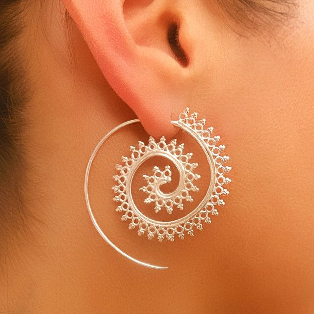 Silver Earrings - Spiral Earrings - Gypsy Earrings - Tribal Jewelry - Silver Jewelry - Native Jewery - Ethnic Jewelry - Gypsy Jewelry by RONIBIZA on Etsy https://www.etsy.com/listing/232676119/silver-earrings-spiral-earrings-gypsy