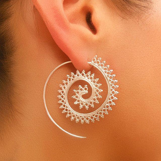 Silver Earrings - Silver Spiral Earrings - Gypsy Earrings - Tribal Jewelry - Silver Jewelry - Ethnic Jewelry - Gypsy Jewelry (Code: ES3) by RONIBIZA on Etsy https://www.etsy.com/listing/232676119/silver-earrings-silver-spiral-earrings