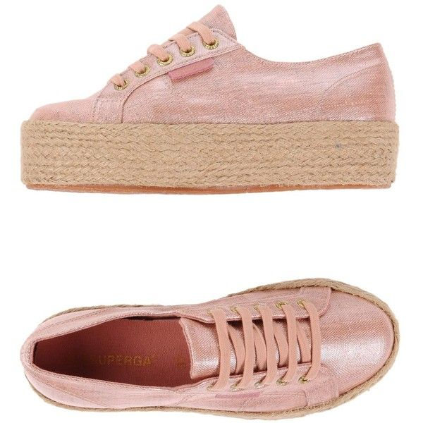 Superga® Espadrilles ($120) ❤ liked on Polyvore featuring shoes, sandals, pastel pink, pink shoes, superga shoes, wedge sandals, wedge shoes and espadrille flatforms