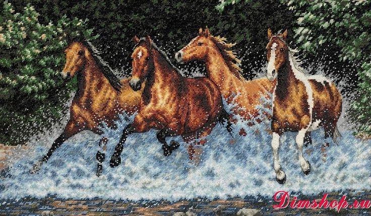 Dimensions Shop. Набор для вышивания Dimensions 35214 Galloping Horses (Бегущие лошади)