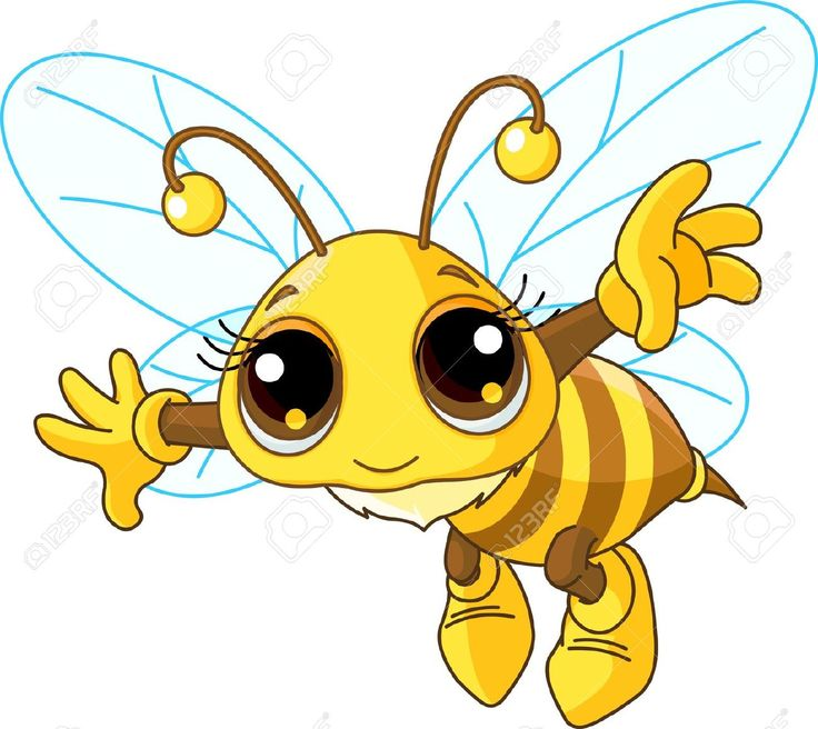 bee cartoon: Illustration of a Friendly Cute Bee Flying Illustration