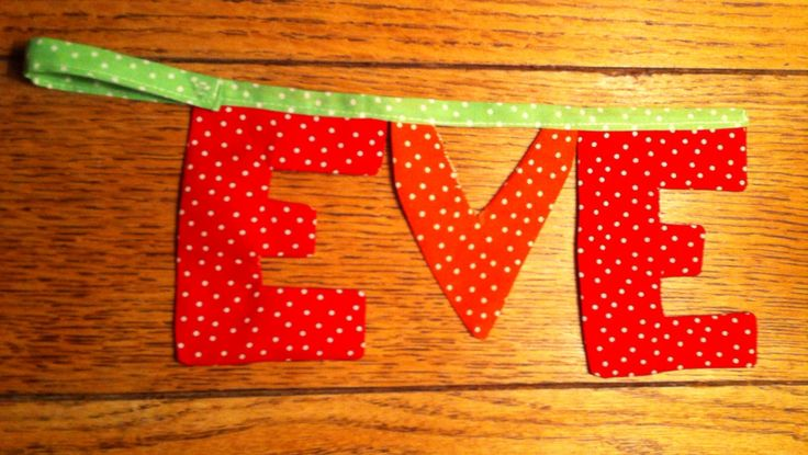 Bunting name tag for Eve. June 2015